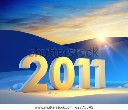 new year 2011, 3d render - stock photo