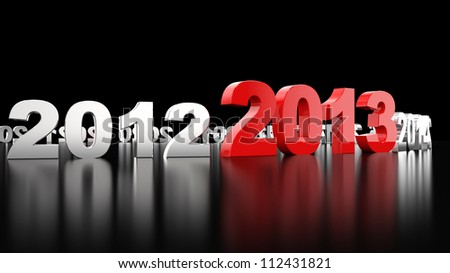 New Year 2013. 3d render illustration - stock photo