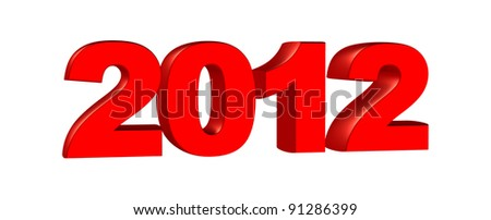 New year 2012, 3D text - stock photo