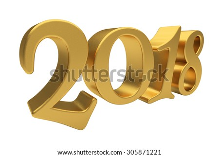 New 2018 Year 3d text on white background