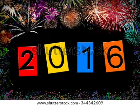 New year 2016 - date and firework - stock photo