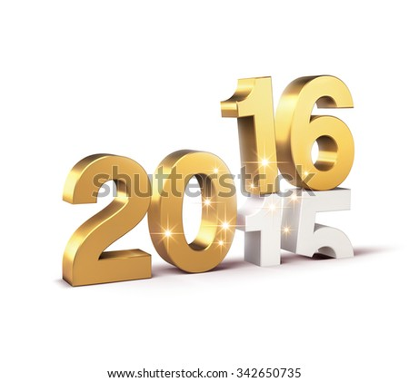 New Year 2016 date over 2015 isolated on white - stock photo