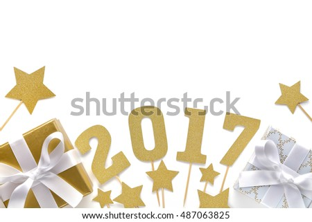 New Year 2017 Decoration on White
