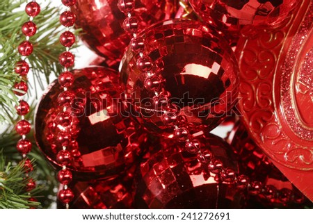 New year decoration. Red balls and beads. - stock photo