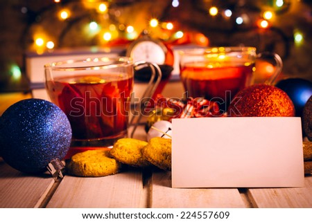 New Year decoration with blank card,selective focus  - stock photo