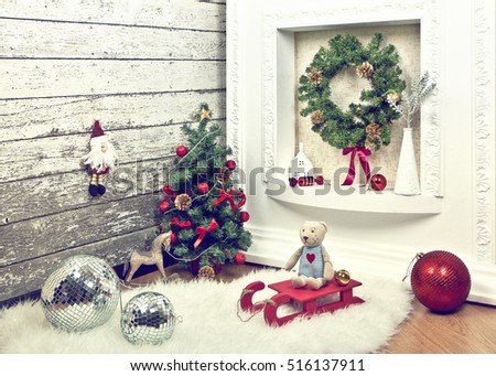 New year decoration with toys in the corner