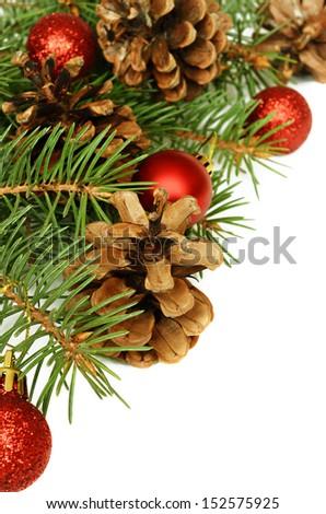 New year decorations on white background - stock photo