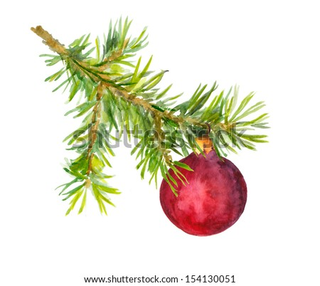 New year design - xmas tree with bauble - stock photo