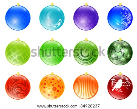 New year different multicolored ball toy collection - stock photo