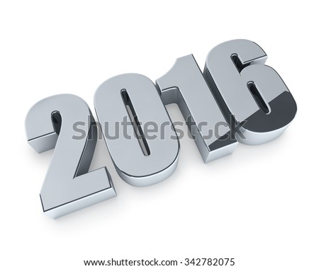 New 2016 year figures isolated on white background. - stock photo