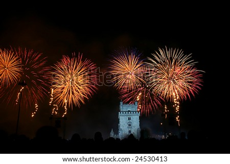 New Year Firework in Lisbon near Belem Tower - Portugal