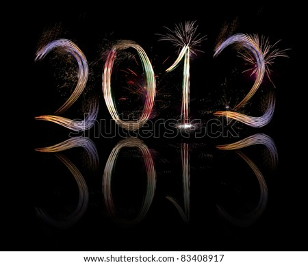 New Year , 2012. Fireworks against a black sky - stock photo