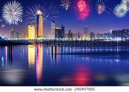 New Year fireworks display in Abu Dhabi, UAE - stock photo