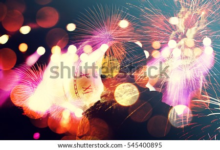 New Year fireworks, Happy New Year card