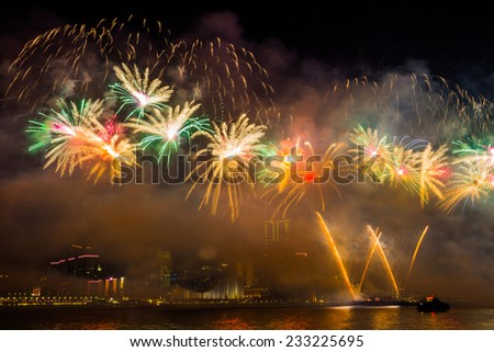 New Year Fireworks in Hong Kong.  - stock photo