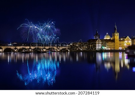 New year Fireworks in Prague, Czech Republick - stock photo