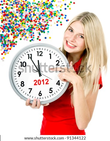 new year 2012. five to twelve. young beautiful woman holding big clock and party decoration - stock photo