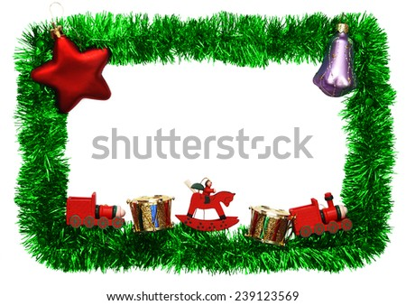 new year frame with toys - stock photo