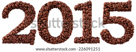 new 2015 year from coffee beans. isolated on white. - stock photo