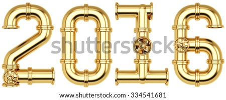 new 2016 year from golden gas pipes. Isolated on white background.