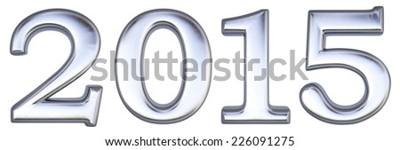 new 2015 year from silver. isolated on white. - stock photo