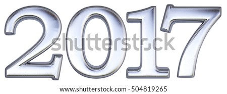 new 2017 year from silver. isolated on white. 3D illustration.