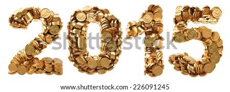 new 2015 year from the golden coins. isolated on white. - stock photo