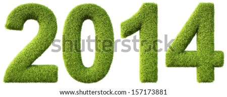 new 2014 year from the green grass. isolated on white. - stock photo