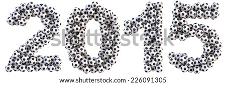 new 2015 year from the soccer balls. isolated on white. - stock photo