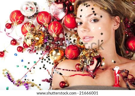New Year girl - stock photo