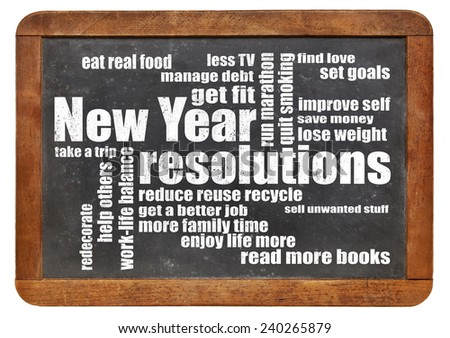 New Year goals or resolutions - a word cloud on a vintage slated blackboard - stock photo