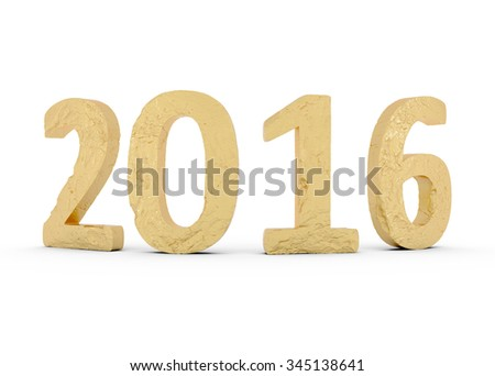 New Year Gold 2016 isolated on white - 3d illustration - stock photo