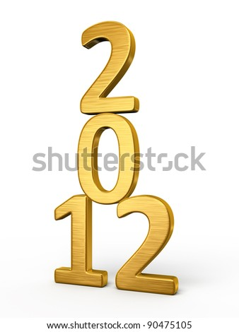 New Year 2012 gold render (isolated on white and clipping path)
