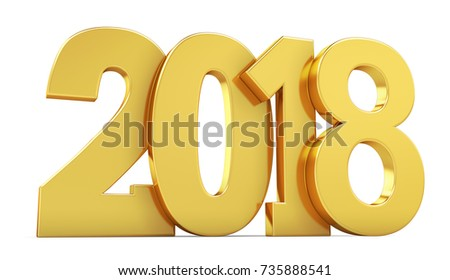 New year golden inscription 2018 on a white background. 3d rendering.