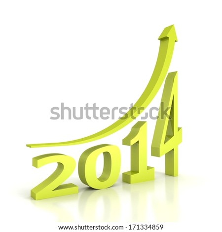 new year 2014 green arrow growth up - stock photo