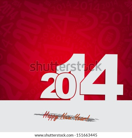 New 2014 year greeting card, with space for text. Happy new year. (Raster) - stock photo