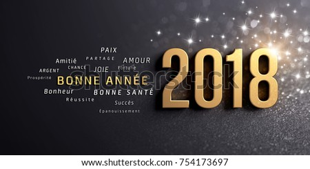 New year greetings french date 2018 stock photo safe to use new year greetings in french and date 2018 colored in gold on a festive m4hsunfo
