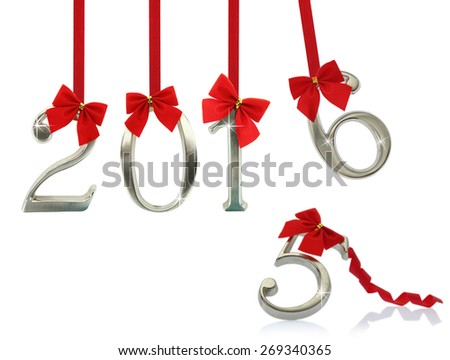 New year 2016 hanging on red ribbons - stock photo