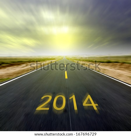 New Year, 2014 Highway, a better future. - stock photo