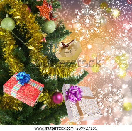 New Year holiday blinking abstract background with decorated christmas tree  - stock photo
