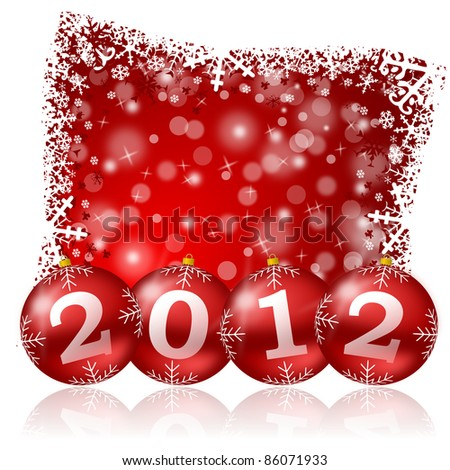 new year illustration with christmas balls - stock photo