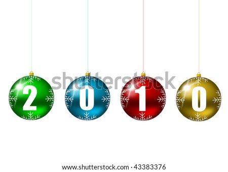 new year 2010 illustration with colorful glass balls - stock photo