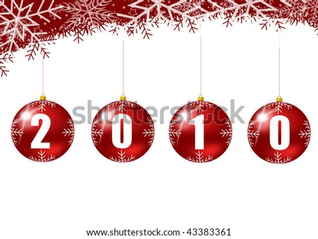 new year 2010 illustration with glass ball and snowflakes - stock photo