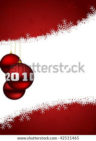 new year 2010 illustration with glass balls - stock photo