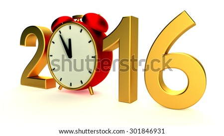 New year 2016 illustration with red clock - stock photo