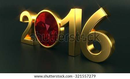 New year 2016 illustration with ruby gemstone - stock photo