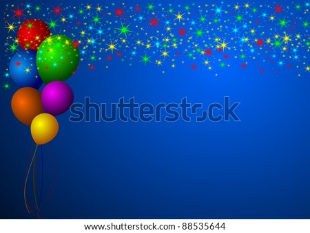 new year illustration with stars and balloons - stock photo