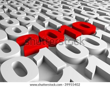New year in binary code - stock photo