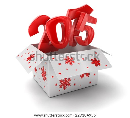 New year 2015 in box (clipping path included) - stock photo