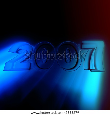 new year in cool font and golden look with blue rays.